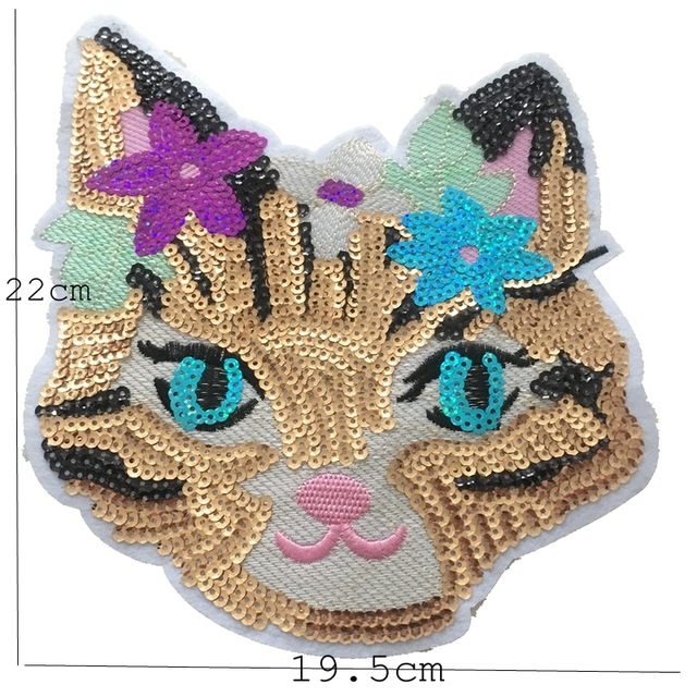 b2adf2ad1b Beauty Cat Patch for Clothes High Quality 3D Sequined Patches Clothes  Fabric Stickers Iron On Cute Cat Applique For T-shirt 2PCS