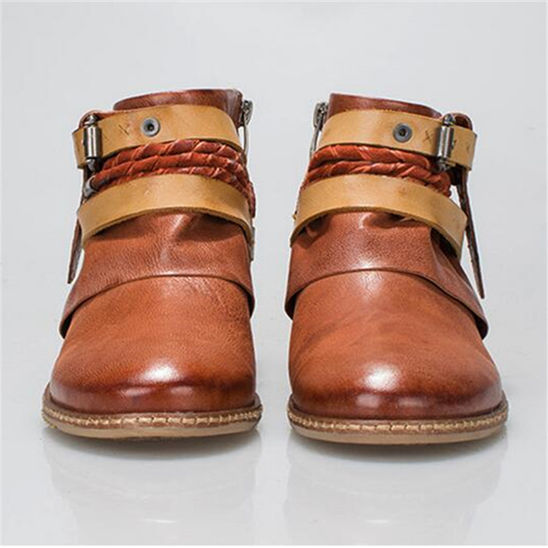 Jady Rose 2018 New Brown Ethnic Women Genuine Leather Ankle Boots Straps Autumn Short Booties Casual Flat Shoes Woman Flats