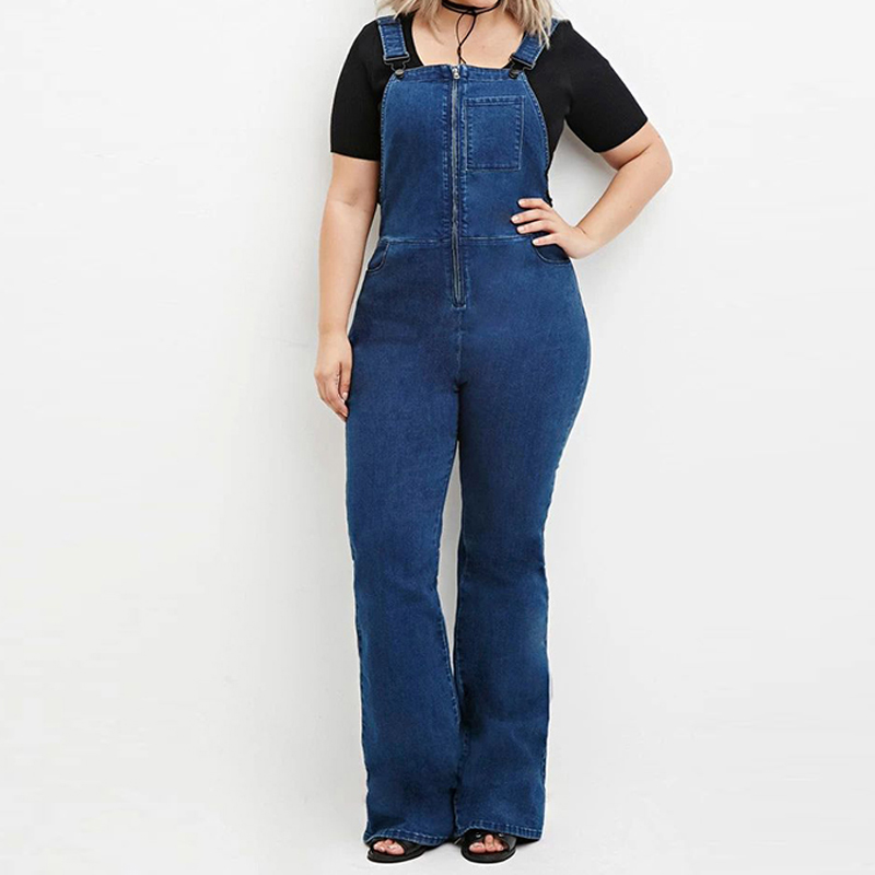 ФОТО Women Denim Jumpsuit 2016 Autumn Casual All Match Vintage Wide Leg Solid Jeans Overall Women Clothing Big Sizes 3XL 4XL 5XL 6XL