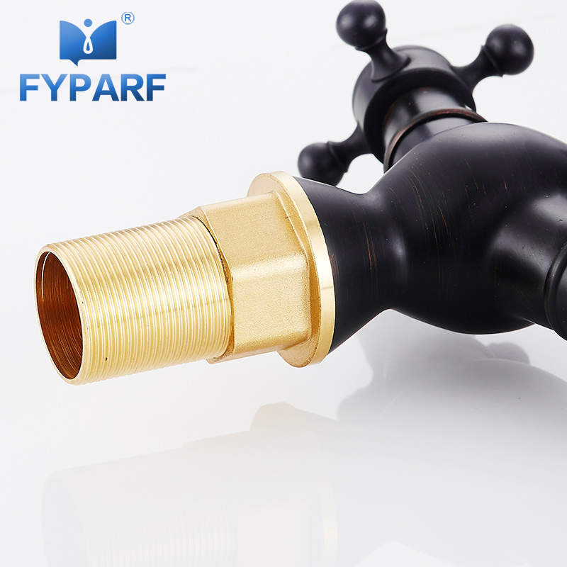 FYPARF Dolphin Bathroom Vintage Faucet Dual Handle Cross Deck Mount Basin Vessel Sink Mixer Tap Black Brass Cold Hot Sink Crane