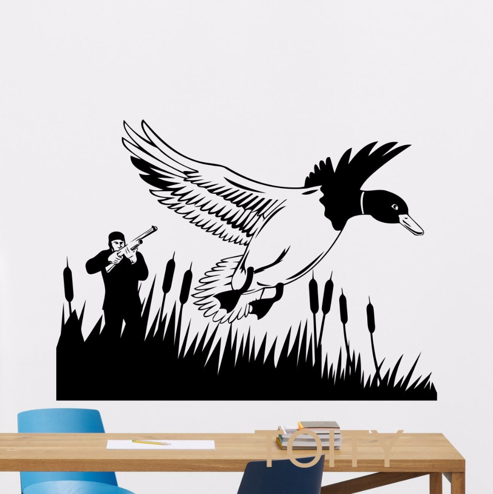 Hunting wall decal hunt hunter gun duck vinyl sticker home for Duck hunting mural
