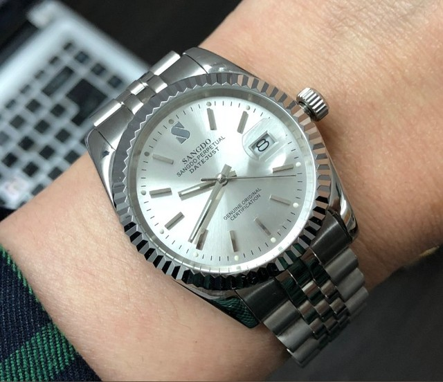 37.5mm Sangdo Business watch silver  white dial Automatic Self Wind movement High quality Mechanical watches Mens watch sd60 8