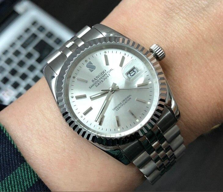 37.5mm zegarek biznesowy Sangdo srebrno-biała tarcza automatyczny ruch własny wiatr wysokiej jakości zegarki mechaniczne zegarek męski sd60-8
