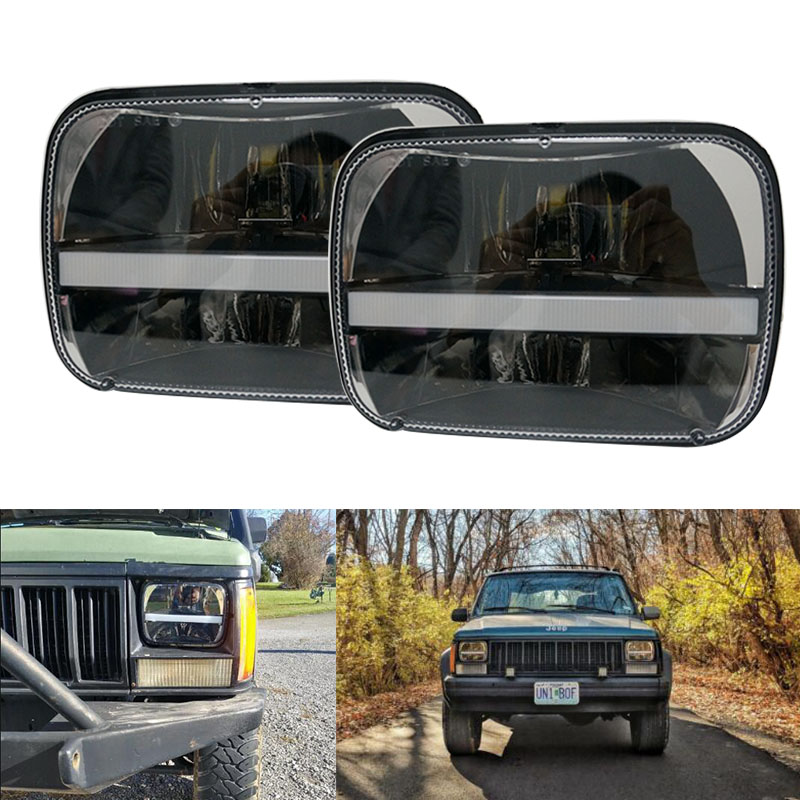 Newest 6x7 Inch Square led Daymaker headlamp 5x7 led Truck front headlight with DRL Turn signal for Jeep Cherokee XJ 1984-2001