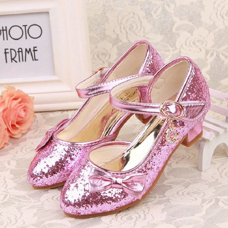 Girls Princess Shoes 2018 New Children Princess Sandals Kids Girls Wedding Shoes High Heels Dress Shoes Bowknot Shoe For Girl