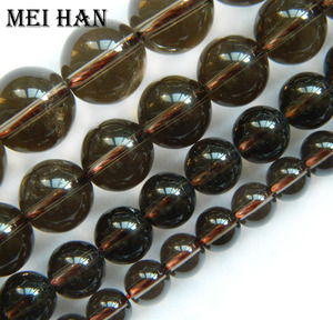 Meihan Natural 6-12mm smooth round smoky crystal beads for jewelry making design fashion stone diy bracelet necklace wholesale(China)
