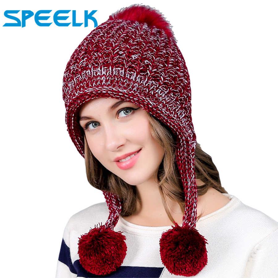 ใหม่เกาหลีถักหมวกผู้หญิงน่ารัก Beanies หมวกหนาหมวก Skullies กำมะหยี่หมวกถักหมวกสุภาพสตรี Earmuffs หมวกขนสัตว์