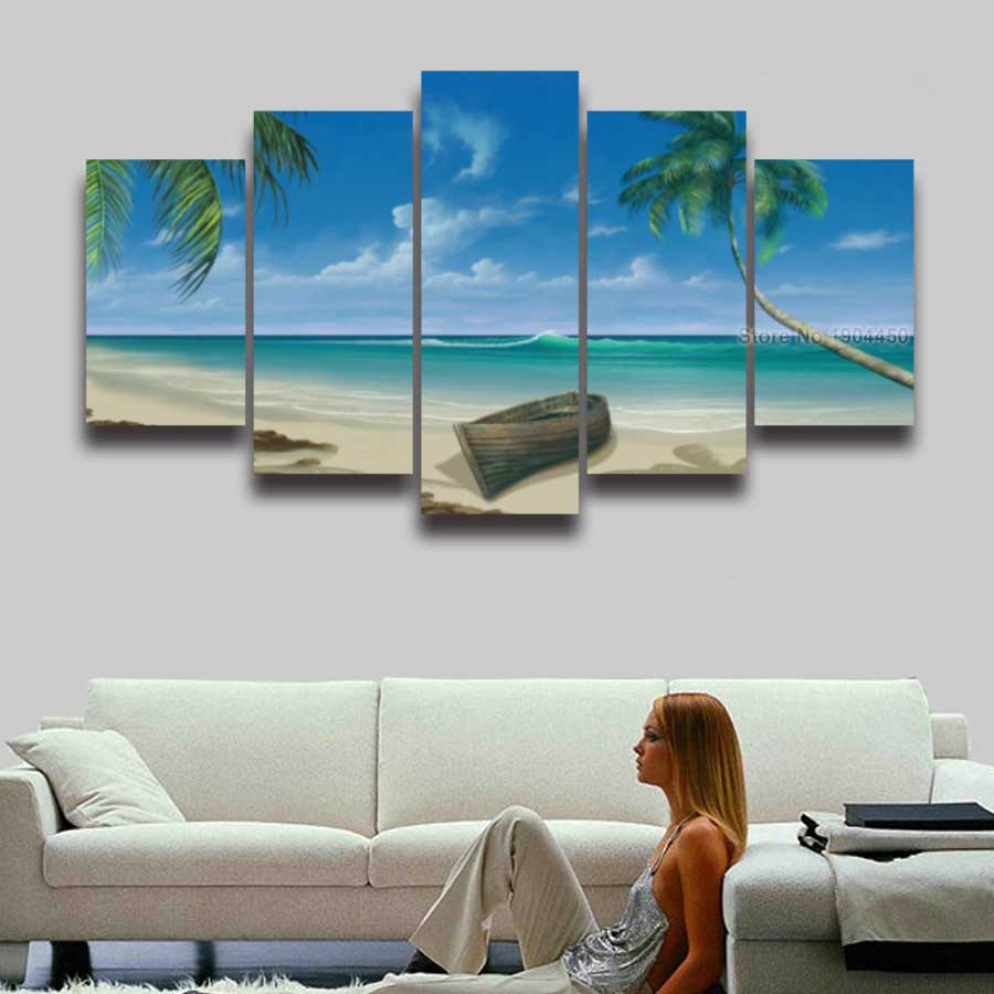 aliexpress : buy 5 panel canvas painting blue sea boat beach