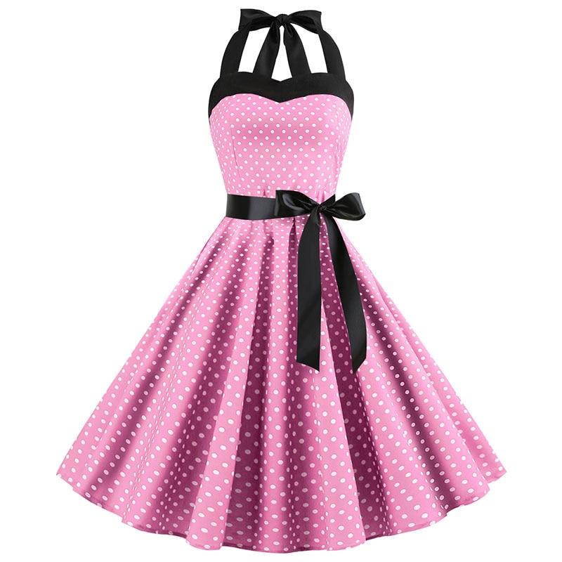 Sexy Halter Party Dress Retro Polka Dot Hepburn Vintage 50s 60s Pin Up Rockabilly Dresses Robe Plus Size Elegant Midi Dress 7