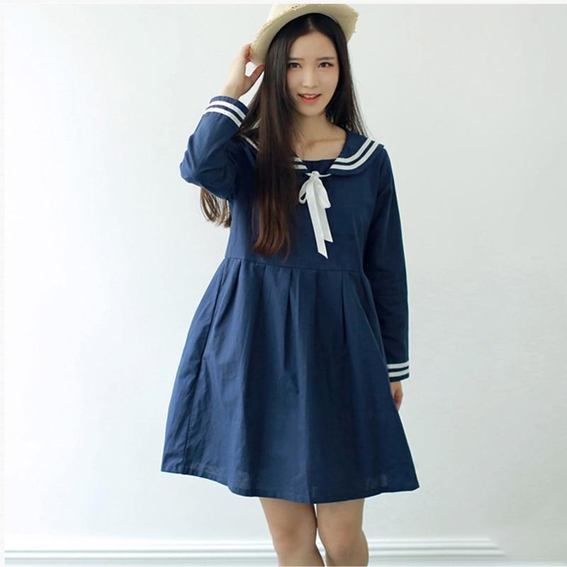 a7cbb97ffa New Arrival Japanese School Uniform Girl Loita Sailor Collar Dress Kawaii  Long Sleeve Bowknot Sailor Moon Cosplay Dresses. JK Lolita Carp Mesh Dress  SE20132