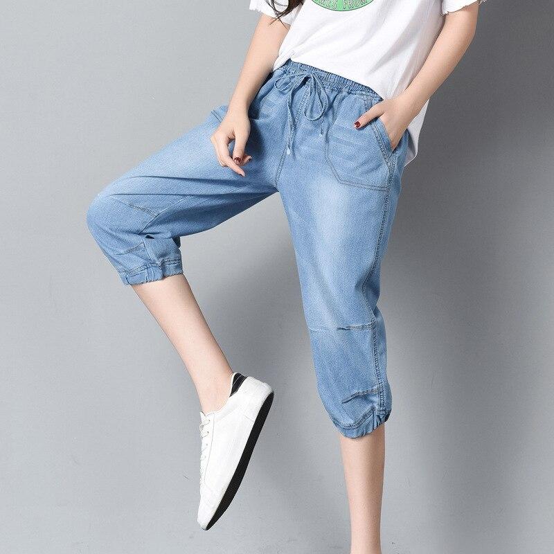 Large Size Ladies Summer Jeans Breeches for Women Capri Pants High Waist Elastic Lace Up Loose Boyfriends Jeans Light Blue