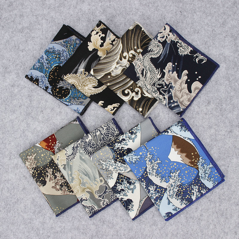 2018 Brand New Men's Fashion Suit Pocket Square Handkerchiefs Wave Linen Printed Hankies Casual Business Classic Pockets Hankies