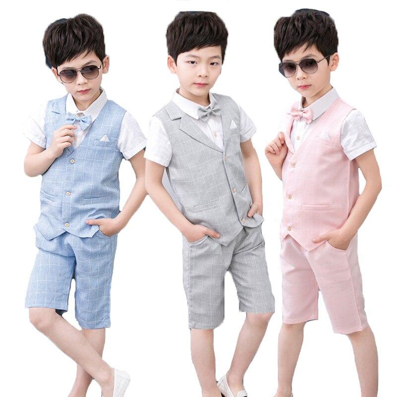 c27b395e9c1 Детей 4 шт. Комплекты летней одежды для мальчиков деловой жилет рубашки и  шорты с бантом