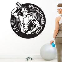 DCTAL Gym Name Sticker Fitness Crossfit Muscle Decal Body building Posters Vinyl Wall Decals Parede Decor Mural Gym Sticker