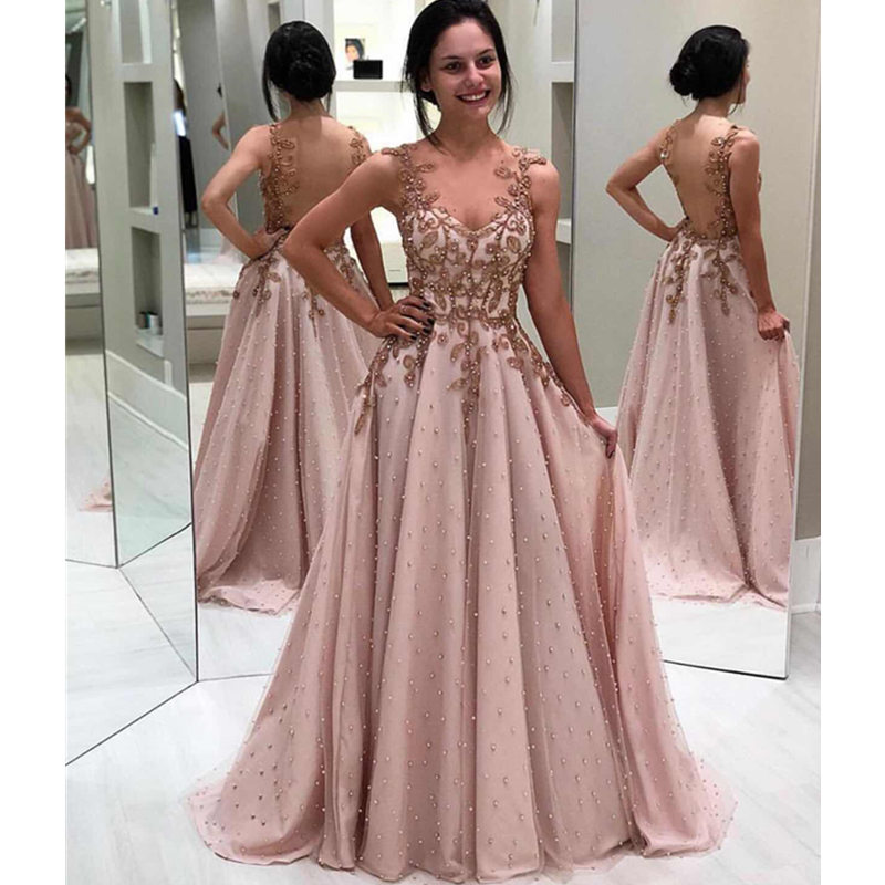 Robe De Soiree Sexy Beaded Evening Dress Long Elegant Lace Appliques Evening Gowns Illusion Backless A Line Formal Party Dress