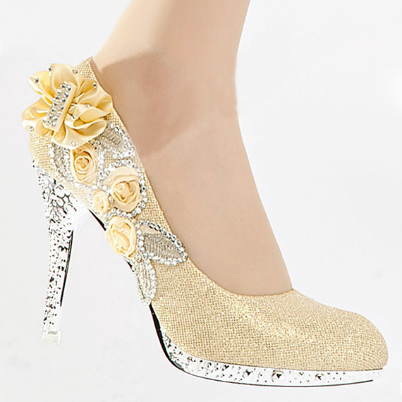 rose gold wedding shoes sa201 gold bling glitter lace flowers evening 7127