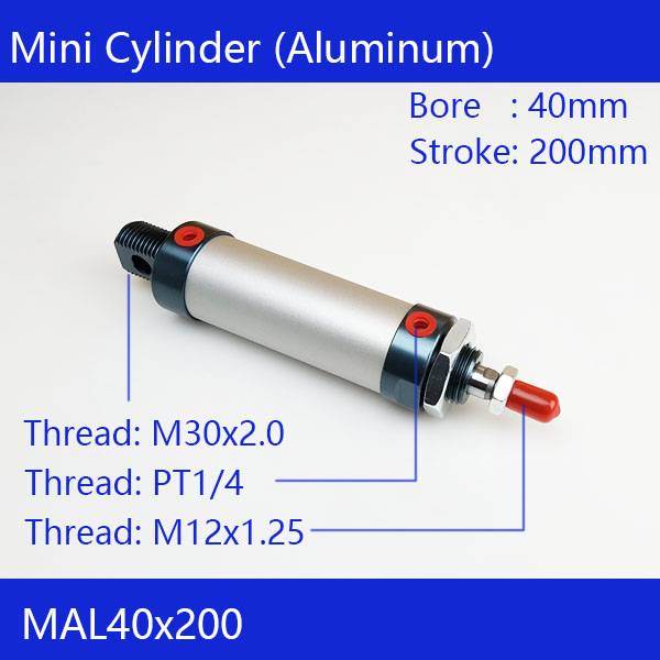 Free shipping barrel 40mm Bore200mm Stroke MAL40x200 Aluminum alloy mini cylinder Pneumatic Air Cylinder MAL40-200
