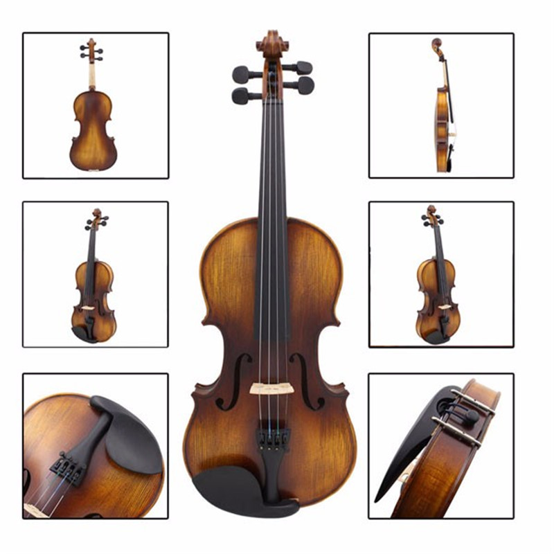 цены Full Size 4/4 Acoustic Violin Stringed Instruments Fiddle with Violin Case Bow Accessories Set Kit For Musical Lover