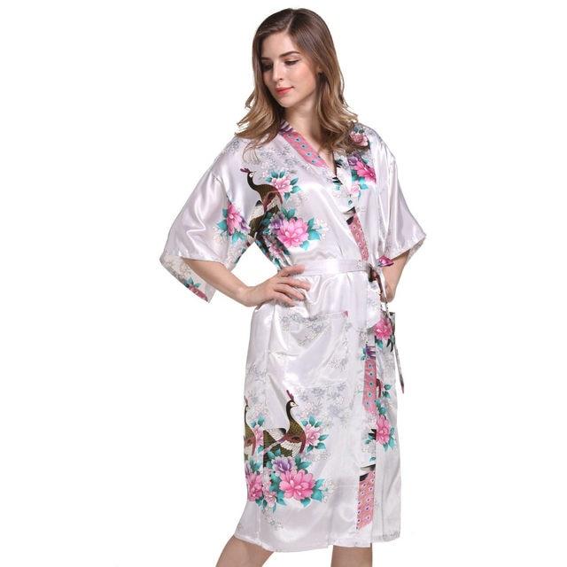 Online Shop New Women Satin Kimono Robes Floral Bridesmaids Robe ...