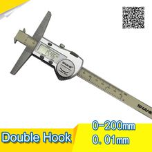 Sale Free shipping SHAHE 0.01mm 200mm High-grade stainless steel double hook Digital depth caliper gauge