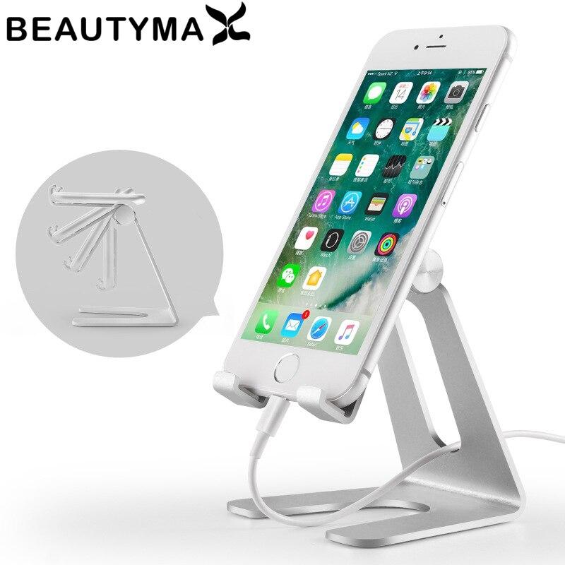 Aleación de aluminio soporte giratorio del teléfono Tablets soporte Mesa ajustable soporte para iPhone X para Samsung
