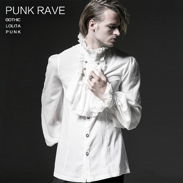 Punk Rave male Gothic style full sleeve chiffon emnossing shirt Y-522