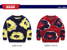 2016 New KIDS Boy Girls Sweater  Baby Girls Clothes  Spring Autumn Kids printed flower for 3-11T