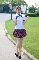 S-XXL schooluniformen voor meisjes Sailor Uniform Wit T-shirt + Plaid Rok Sexy Meisjes Plus Size Japanse Cosplay Anime jurk C29