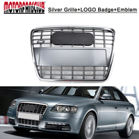 For Audi A6 Quattro C6 2005-2011 S6 Style Chrome Front Hood Bumper Grill Grille with the badge/S6 letter