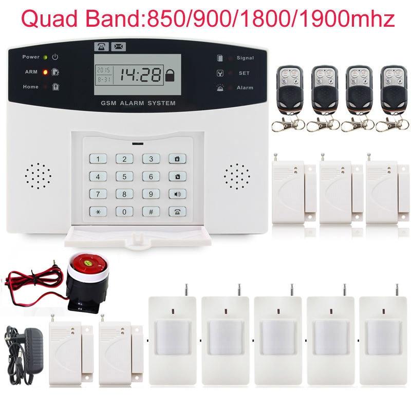 imágenes para Wireless 433 MHz Sistema de Alarma GSM SMS de Ladrón del Hogar de Seguridad SIM Detector PIR Sensor de Puerta con cable de sirena de seguridad doméstica