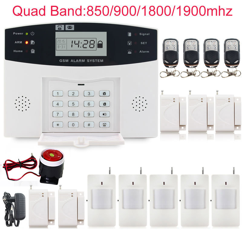 Wireless 433MHz Home Burglar Security SIM SMS GSM Alarm System PIR Detector Door Sensor with wired siren security home free shipping new 6pcs gsm alarm system white infrared detector 433 mhz sensor for wireless home burglar security alarm system