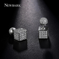 NEWBARK New Exquisite Ball Double Sided Earrings Micro Cubic Zirconia Round And Square Silver Color Stud