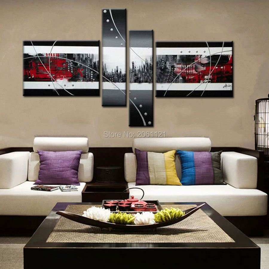Hand Painted Modern Abstract Canvas Art red black gray city image Oil Paintings Wall Pictures Home Decor dark art in Painting Calligraphy from Home Garden