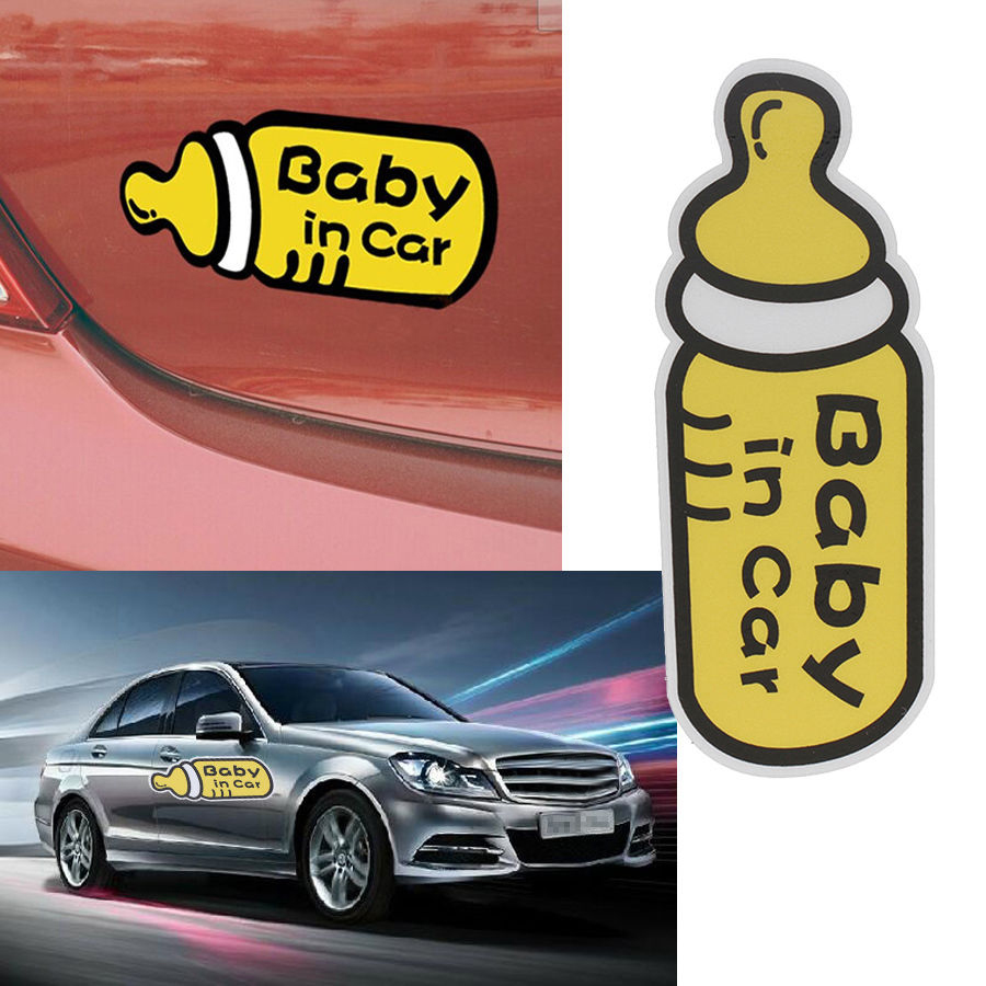 POSSBAY Funny 3D Cartoon Car Stickers Reflective Vinyl Styling Baby In Car Warming Car Sticker Baby on Board On Rear Windshield