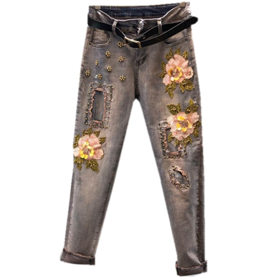 plus size 25-31!3D Flower   Jeans   Sequins Beading Stretch 2018 Fashion Embroidered   Jeans   women