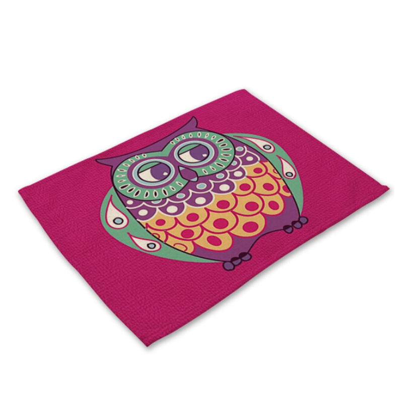 Lovely Owl Placemat Dining Table Mats Set Table Bowl Pad Napkin Dining Table Tray Mat Coasters Kids Table Set ...