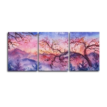 Laeacco Canvas Calligraphy Painting Watercolor 3 Panel Tree Posters and Prints Wall Art Nordic Home Living Room Decor