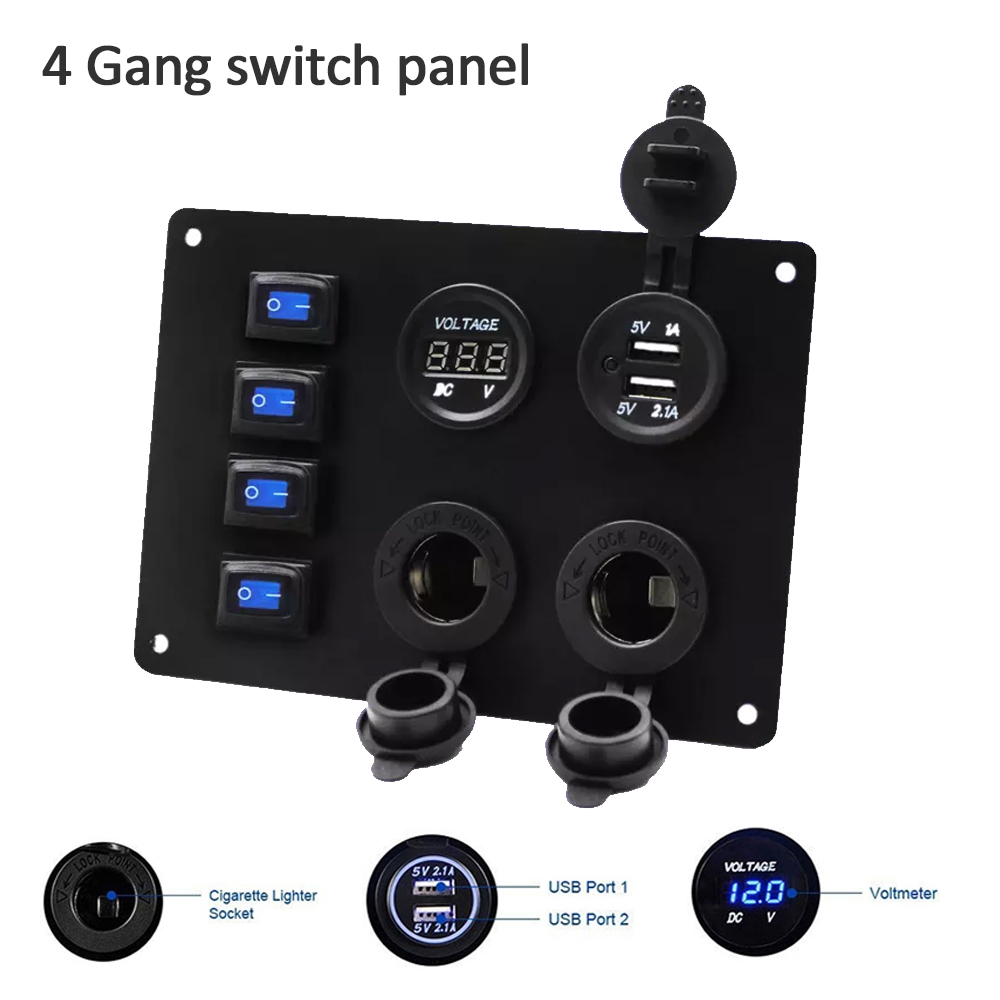 4 Gang ON-OFF-ON Rocker Switch Control Panel 2 USB Charger for Car Marine Boat 2V yacht modified car waterproof boat LED blue