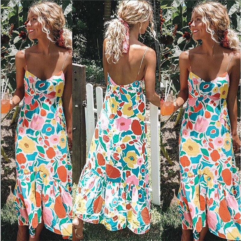 6163e4ce355 Print Floral Long Boho Bohemian Beach Summer Dress Women 2018 Sundress Sexy  V-Neck Sleeveless