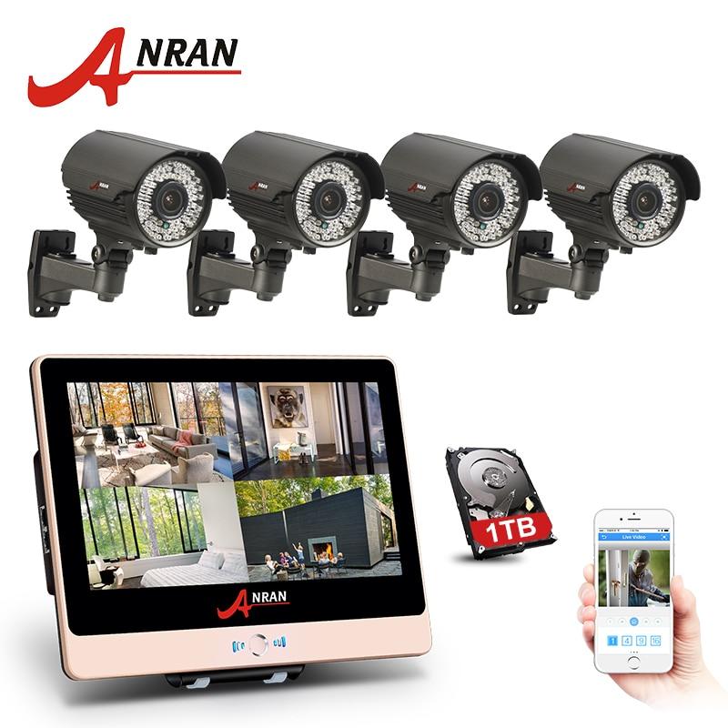 купить ANRAN 4CH 1080P 12 Inch LCD Monitor POE NVR Home Security System 78 IR 2.8-12MM lens Waterproof CCTV Camera Outdoor HDD Optional недорого