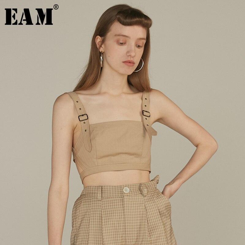 [EAM] 2019 New Spring Summer V-collar Sleeveless Buckle Split Joint Short Personality   Tank     Tops   Women Fashion Tide JQ889