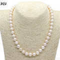JINSE 9-10 mm Real Natural Pearl Necklace For Women Freshwater Pearl Jewelry BLS211