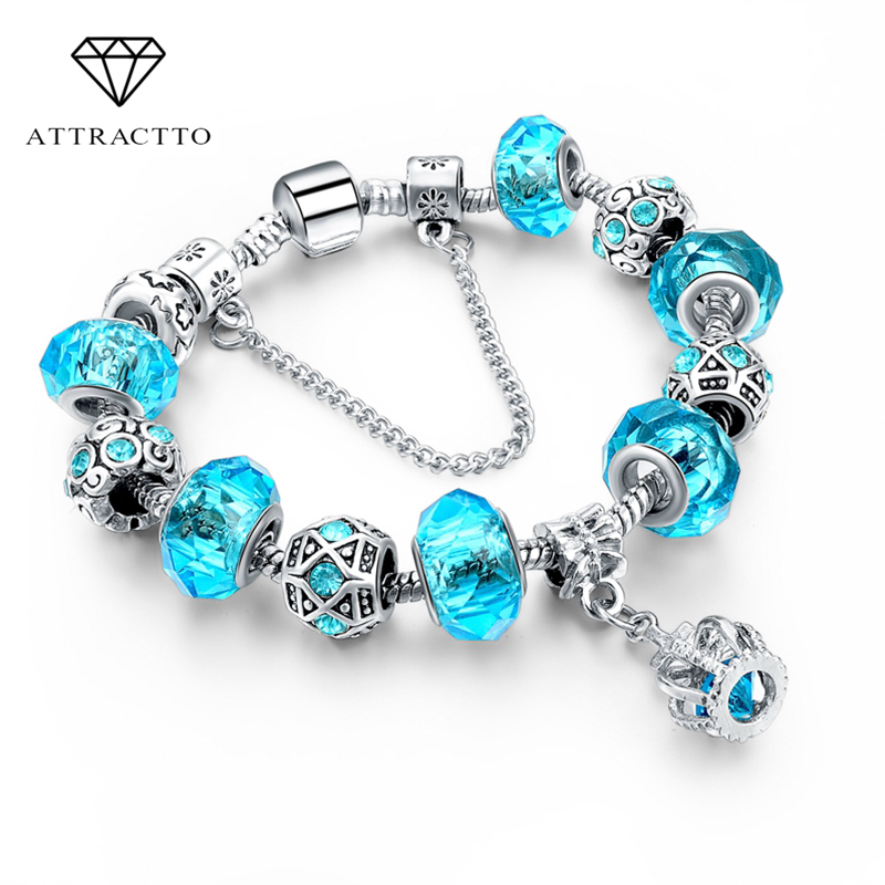 ATTRACTTO Custom Silver Color Crown Bracelets&Bangles Crystal Beads Charm Bracelets For Women Jewelry Pulsera Bracelet SBR160016(China)