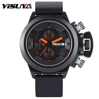 YISUYA Chronograph Silicone Band Strap Japan Quartz Movement Big Dial Wrist Watch Men 6 Hands Sport
