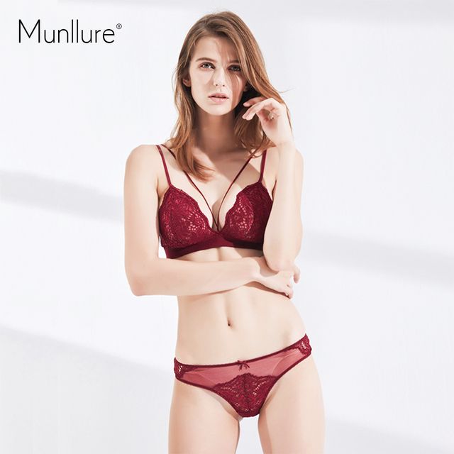 d6fe9337ff Munllure Hollow Lace breathable bra fine shoulder strap with no steel ring  without sponge female soft