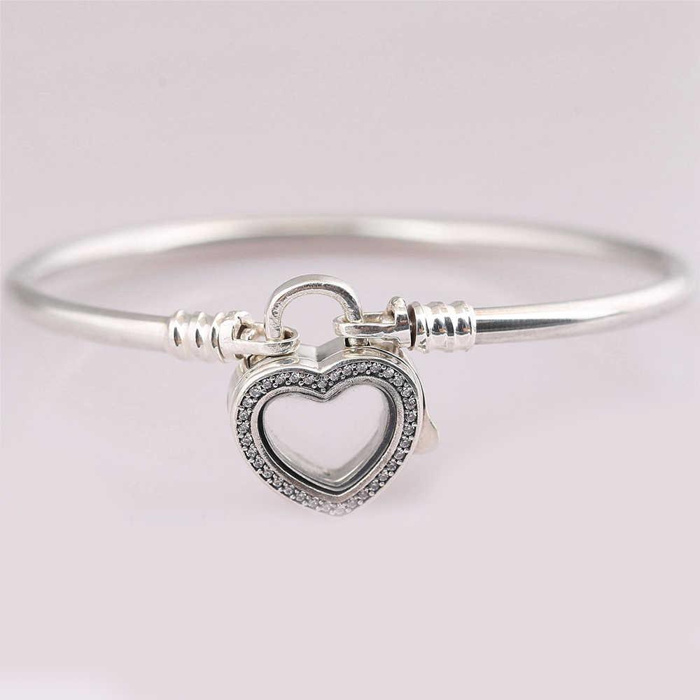 Новый 100% стерлингового серебра 925 сверкающий плавающий медальон в форме сердца браслет подходит европейские Подвески Diy ювелирные изделия