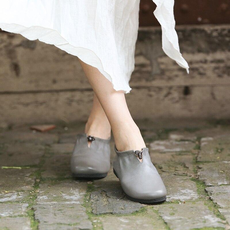 Femmes Rétro Cuir La Pompes Mode Profonde Peu Main Véritable En À Chaussures Confort 1 Casual Tayunxing 519 HOqpExvn