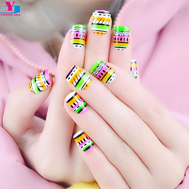 24pcs Cute Fake Nails Full Cover French Faux Ongles Per Set Acrylic Nail Tips Artificial Nep