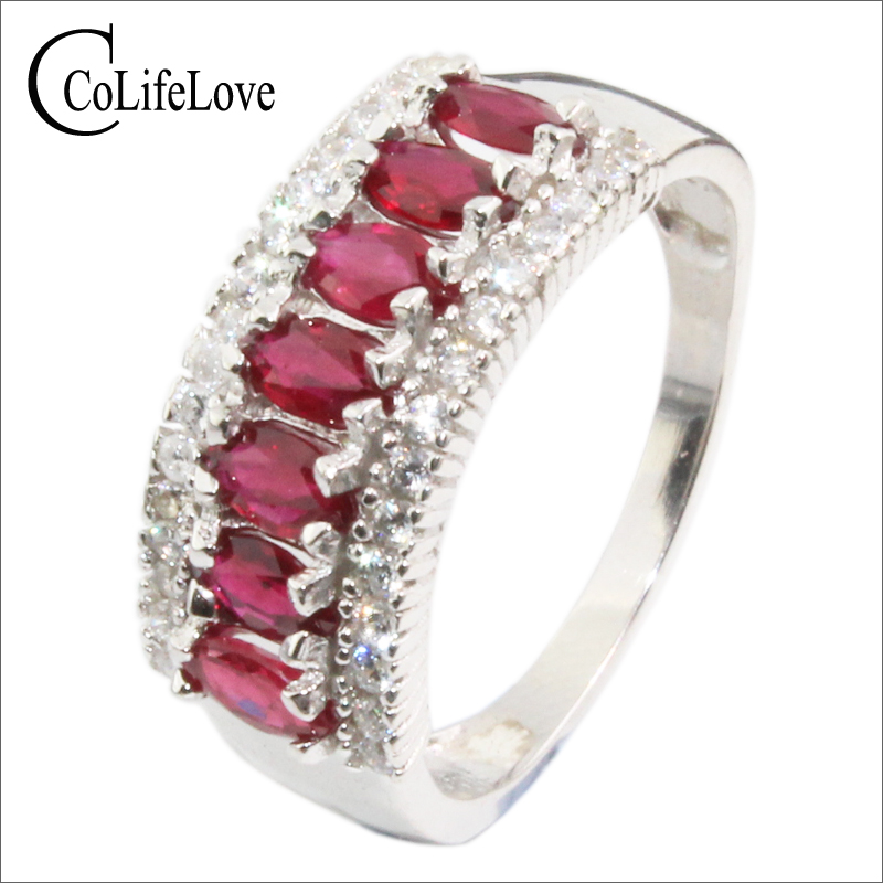 100% real blood red ruby wedding ring 7pcs 2.5 mm * 5mm natural ruby silver ring classic 925 sterling silver ruby ring for party путь ruby