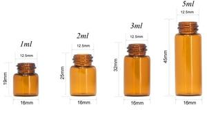 Image 4 - 100 sztuk 1ml 2ml 3ml 5ml Drams butelka szklana bursztynowa z plastikowa pokrywka wkładka olejku szklane fiolki perfumy próbka Test butelka